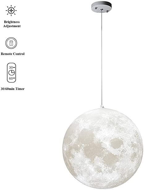MQ 14 inch Moon Pendant Lamp with Remote Control, 3000K-6500K .