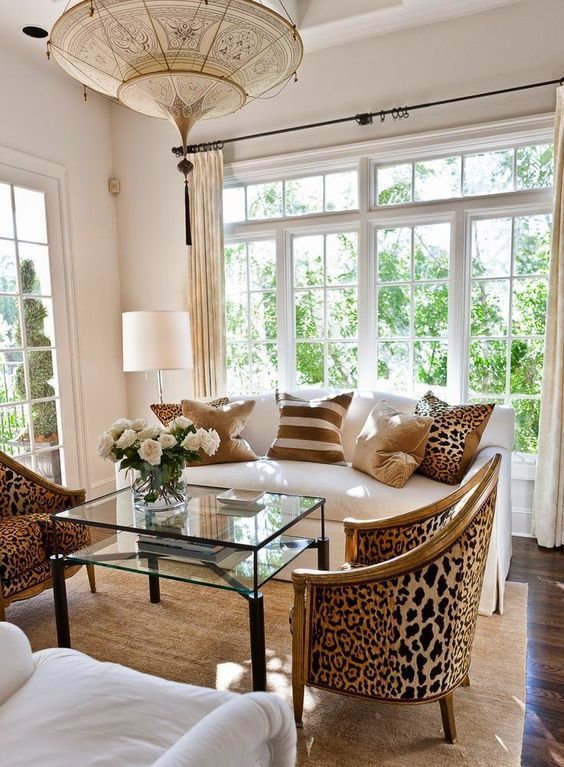 5 Easy Ways To Add Glam To Any Interior | Brown living room .