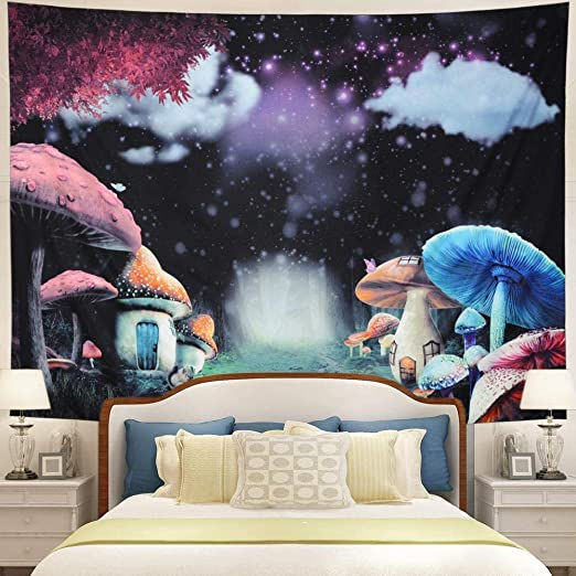 Amazon.com: GPWDSN Mushroom Houses Forest Tapestry,Wall Hanging .