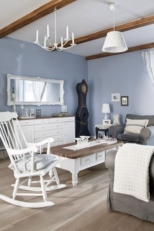 blue and grey...55 Airy And Cozy Rustic Living Room Designs .