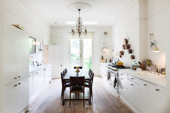 All-White Kitchen Design With Glam And Rustic Features