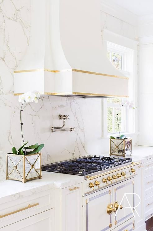 White and Gold French Kitchen Hood with White and Gold French .