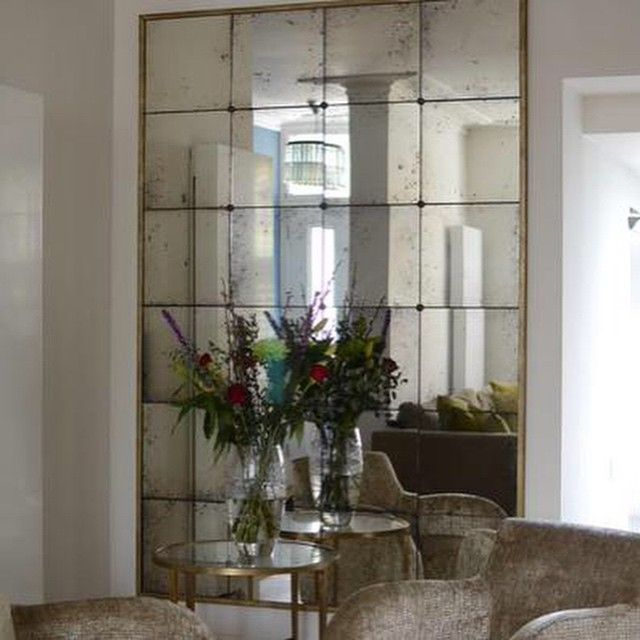 Antiqued mirror with narrow gilt frame #antiquemirrors by Rough .