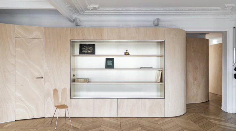 Paris Apartment With A Curved Wooden Ribbon - DigsDi