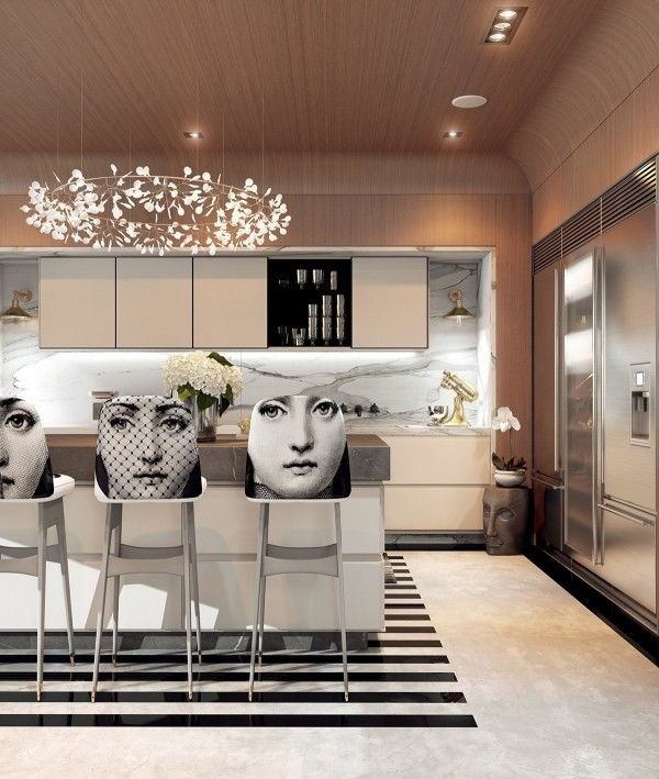 A Modern Art Deco Home Visualized in Two Styles | Art deco kitchen .