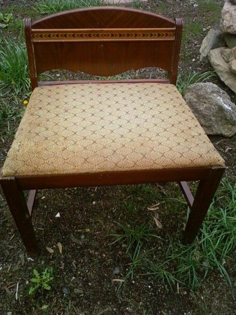 1940's Art Deco Waterfall Vanity Stool. Paint and fabric included .