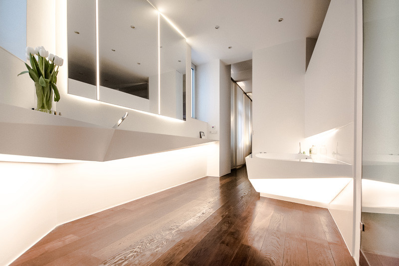This angular bathroom was inspired by the shape of i