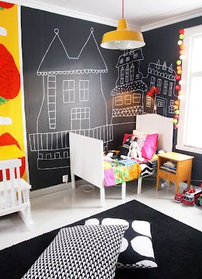 Awesome chalkboard wall! (Just be attentive to cleaning up chalk .