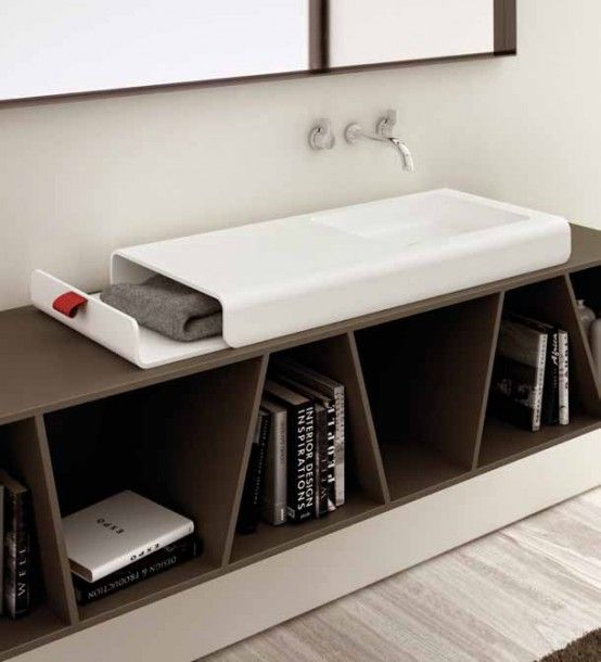 Bathroom Sink With Integrated Storage Compartment - Split by .