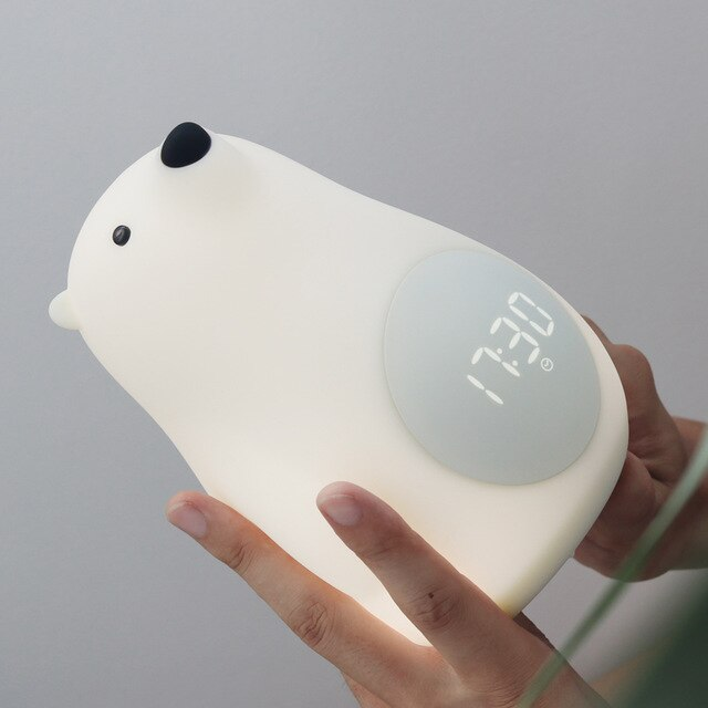 Big white bear night light table with alarm clock silicone lamp .
