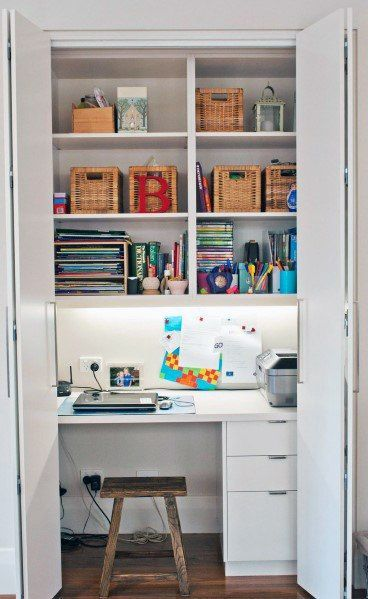 Top 40 Best Closet Office Ideas - Small Work Space Designs   Home .