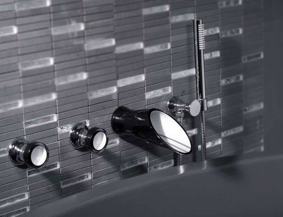 Soffi, Elegant Black and White Bathroom Taps and Shower Heads by .