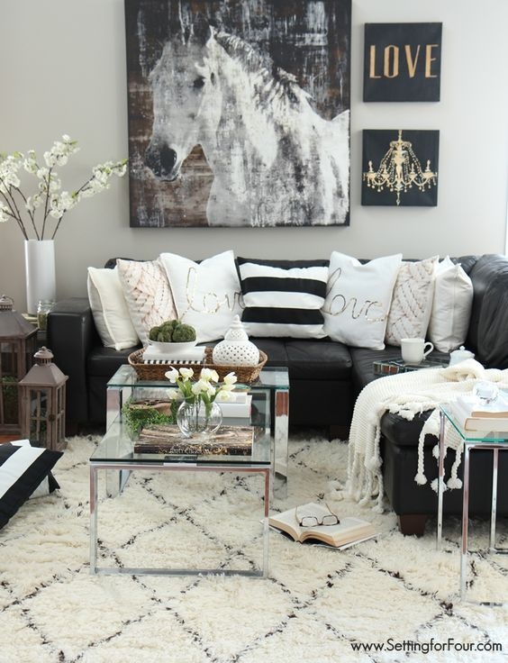 48 Black and White Living Room Ideas & Designs   Decohol