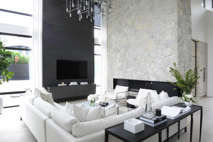 Modern Black and White Living Room with White Sectional - Modern .