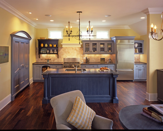 Blue and Yellow Kitchen - Traditional - Kitchen - San Francisco .