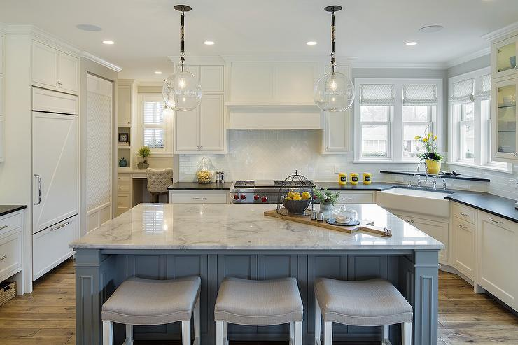 Blue and Yellow Kitchen Design - Cottage - Kitch