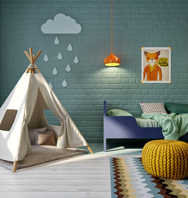vintage inspired kids playroom with bright colored brick walls .