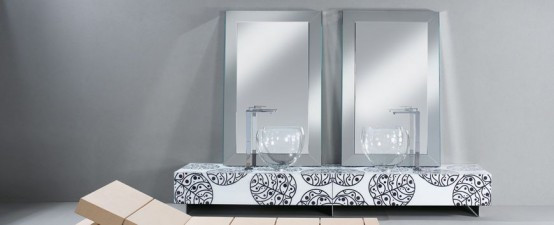shining looking glass Bathroom Furniture With Floral Motif   نأمل .