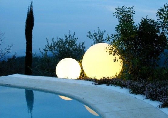 Outdoor lighting. | Swimming pool lights, Pool water features .