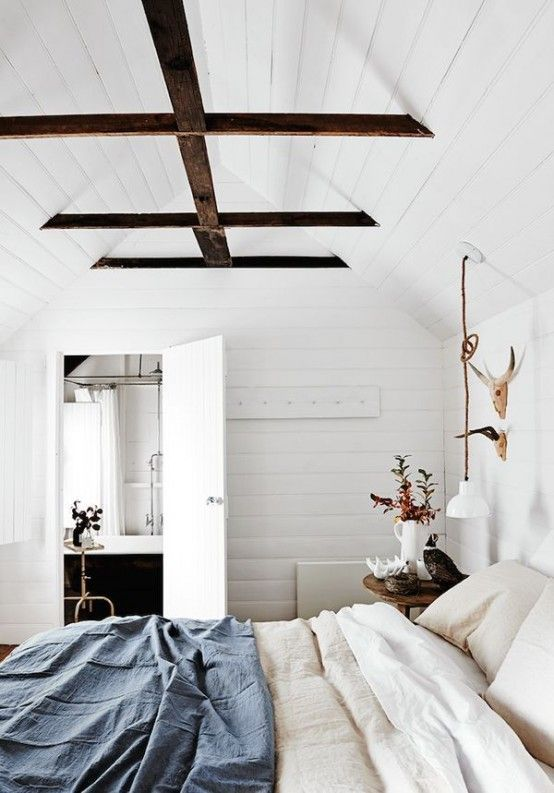 35 Chic Bedroom Designs With Exposed Wooden Beams   Home, Cottage .