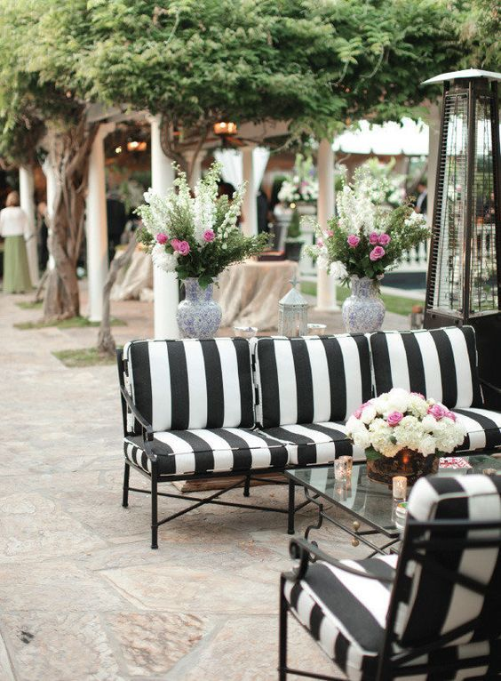 Outdoor chic: black and white stripes + One Kings Lane outdoor .