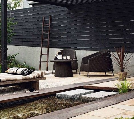 30 Chic Black And White Outdoor Spaces | Japanese garden, Patio .