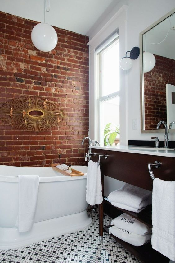 48 Stylish Bathrooms With Brick Walls And Ceilings - DigsDi