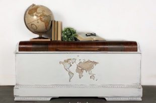 SOLD White Hope Chest with World Map Vintage Distressed Farmhouse .