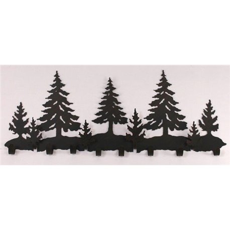 Wrought Iron Pine Tree Collection - Wall Mounted Scene w/ 8 Coat .