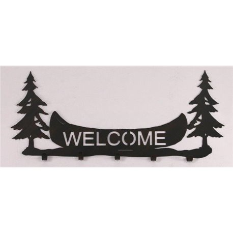 Wrought Iron Pine Tree / Canoe Collection - Wall Mounted Welcome .