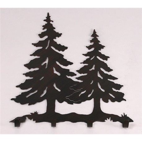 Wrought Iron Pine Tree Collection - Wall Mounted Scene w/ 4 Coat .