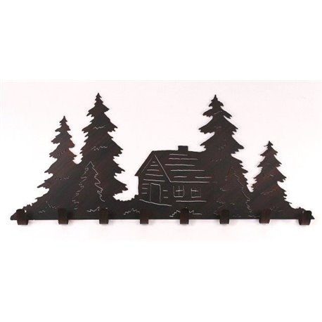Wrought Iron Pine Tree Collection - Cabin Scene with Coat Hoo