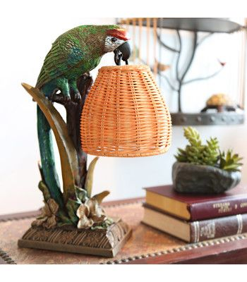 """16349 13.8""""H Welcoming Parrot with a Wicker Basket Shade Table ."""