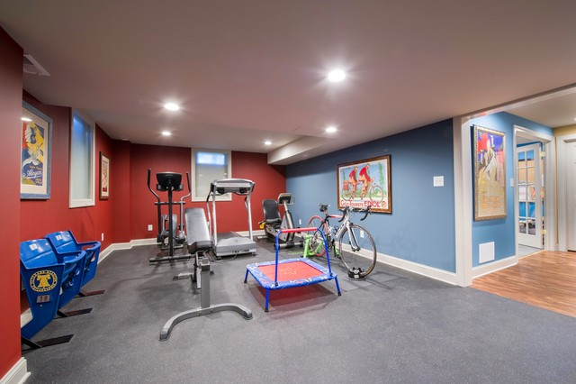 Colorful Contemporary Basement Remodel - Contemporary - Home Gym .