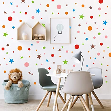 Amazon.com: Polka Dots Wall Decal with Stars Decal, Primary Color .