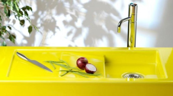 Colorful Neon Yellow Sink And Counter Top - DigsDi