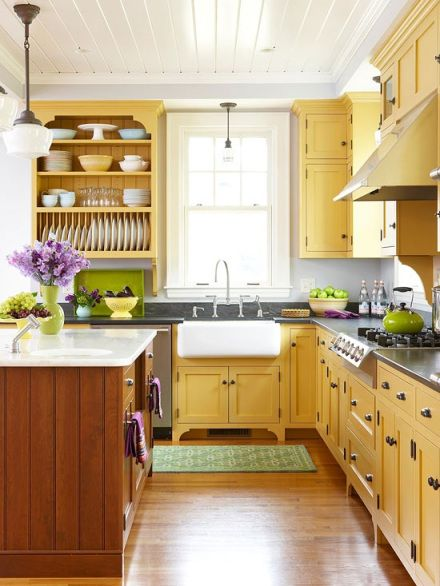 Decorating With Color: Yellow | Cottage style kitchen, Cottage .