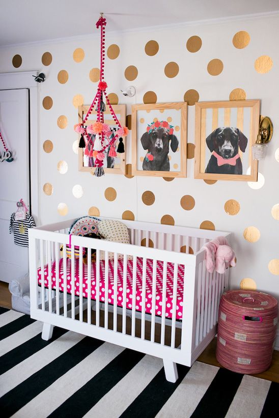Fun, colorful nursery in teal, pink, black, and gold   Whimsical .