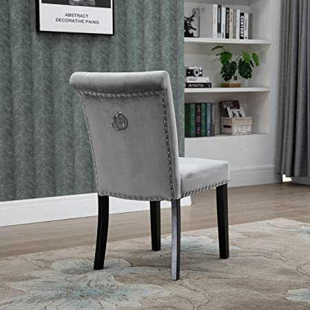 Vanimeu Grey Dining Chairs with Knocker Ring Back Upholstered .