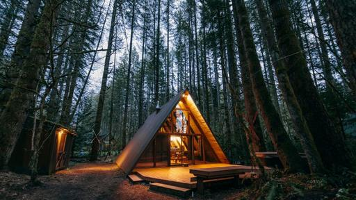 Modern A-frame Cabin With A Cozy Interior And Outdoor Hot Tub .