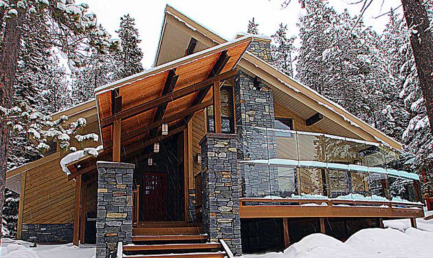 A Modern Mountain Alpine home design that includes a steep sloped .