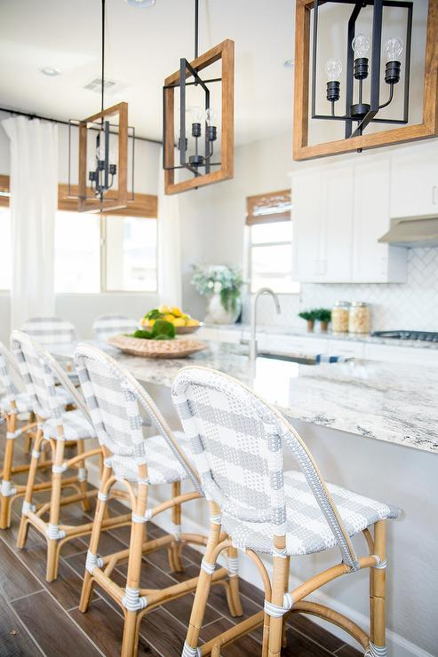 Gray Granite Top Island with Gray Rattan Stools - Transitional .