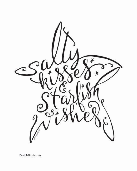 Salty Kisses & Starfish Wishes Sign Hand Lettered Art Print .