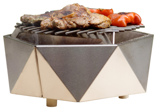 Stainless Steel Charcoal Table Grill, Curonian - Contemporary .