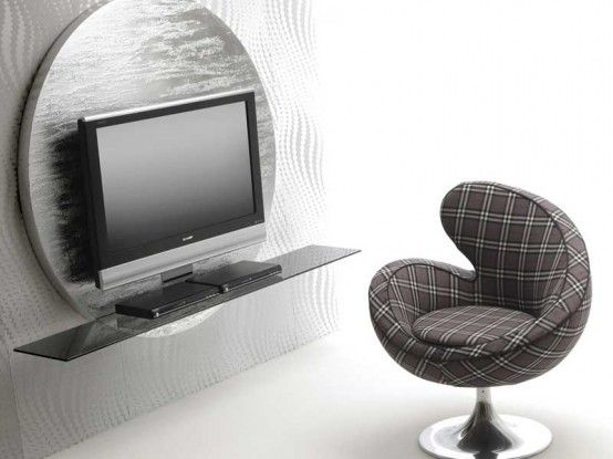 Contemporary Round Black & White TV Stands from Pacini .