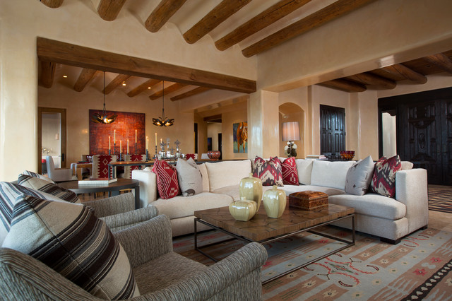 Contemporary Rustic Home in Santa Fe - American Southwest - Living .