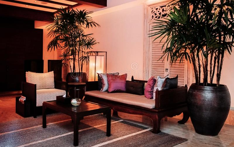 Contemporary Thai Interior Spa Room With Wooden Furniture Warm A .