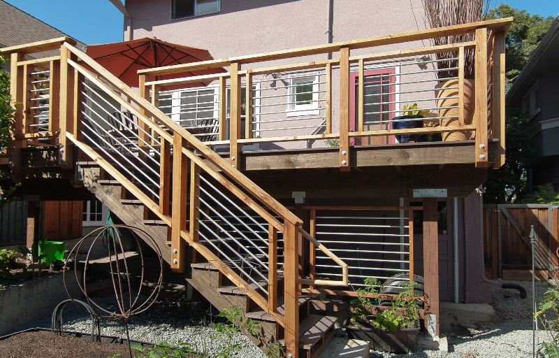 Cool-looking, Cost-efficient Deck Design | Deck stair railing .