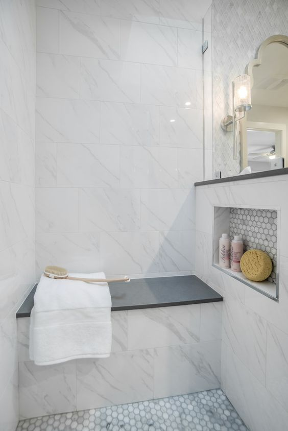 25 Cool Shower Benches For Maximal Comfort | Grey bathrooms .