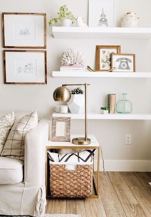 8 Ways To Decorate A Blank Wall: Gallerie B | Floating shelves .